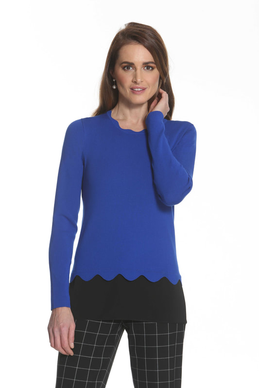 J'envie Sweater Tunic Contrast Bottom Scallop Edge Electric Blue Black Picture