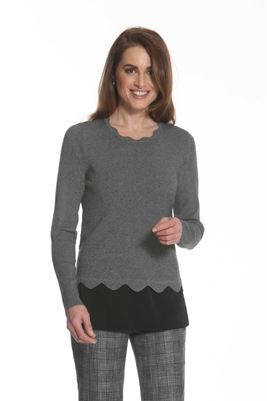 J'envie Sweater Tunic Contrast Bottom Scallop Edge Onyx Tweed Grey Black Picture
