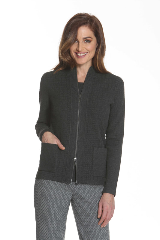 J'envie Sweater Jacket Pattern Pockets Charcoal Picture