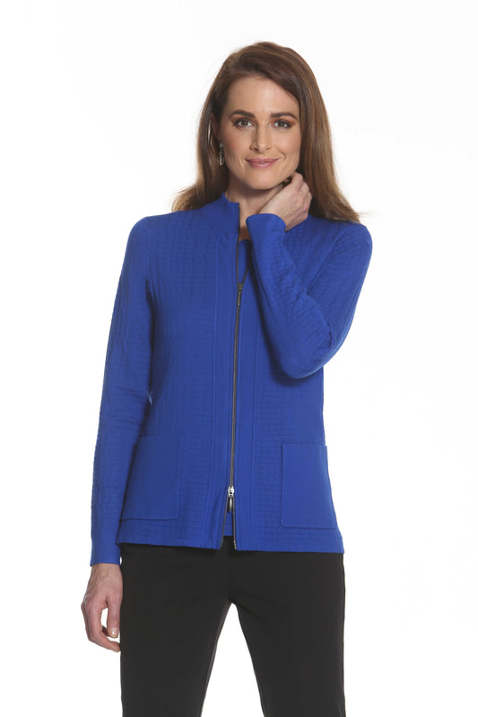 J'envie Sweater Jacket Pattern Pockets Electric Blue Picture