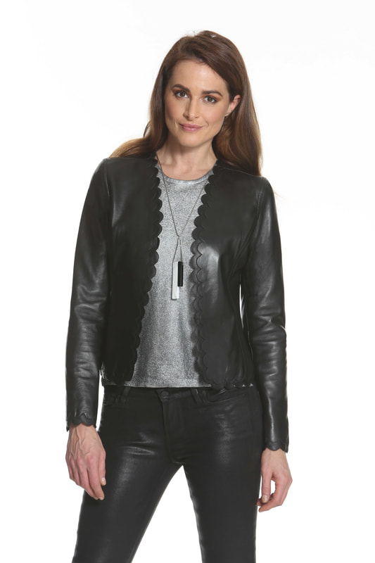 J'envie Leather Scallop Jacket Picture