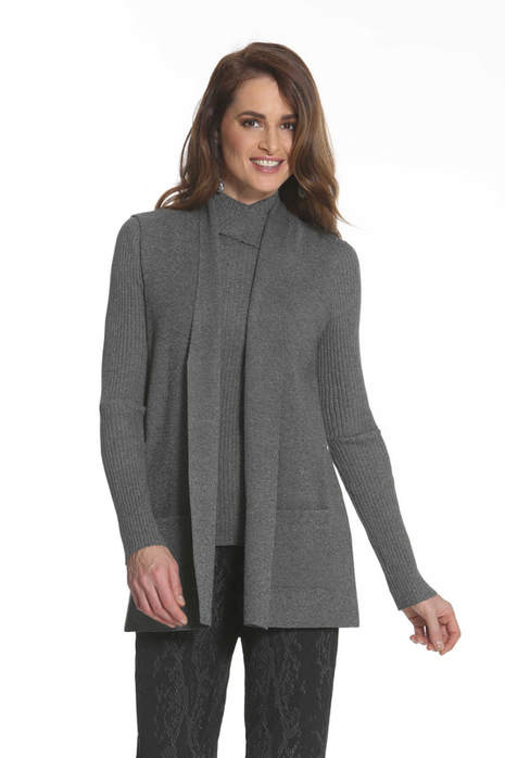 J'envie Jenvie Long Sweater Vest Onyx Tweed Charcoal Picture Picture