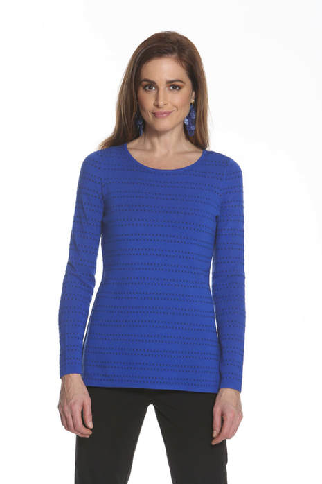 J'envie Sweater top with Novelty Pattern Electric Blue Black Picture